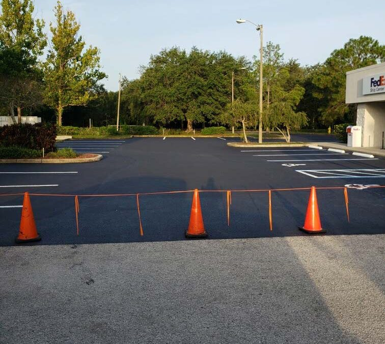 Asphalt Parking Lot Sealcoating & Stripping for FedEx of Pinellas