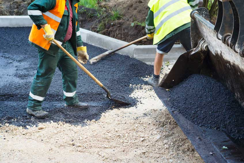Repaving asphalt parking lot