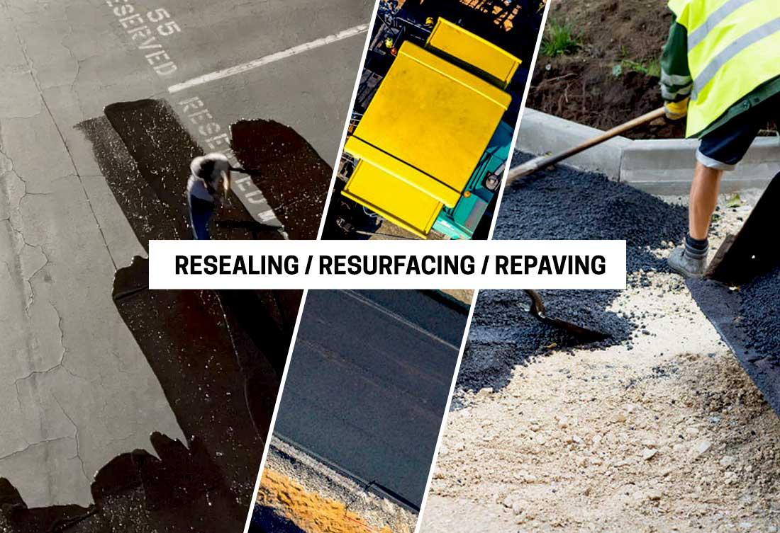 Resealing, resurfacing and repaving asphalt